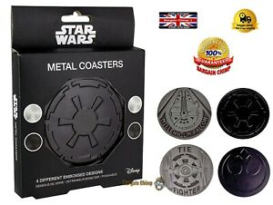 Star Wars Metal Coasters - Set Of 4 designs -  DRINKS bar movie FAN gift