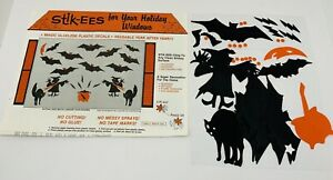 Vtg Halloween Stik-ees Window Clings Reusable Bats N Cats Witches Cauldron USA