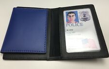 Leather ID Badge Wallet / Holder, Police / Security, Black With Blue Flap