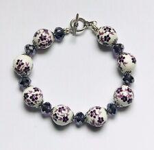 Stunning Purple Ceramic & Ab Italian Crystal Beads Bracelet