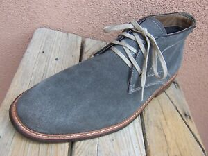 JOHNSTON MURPHY Mens High Top Dress Shoe Gray Suede Leather Chukka Boot Size 10M