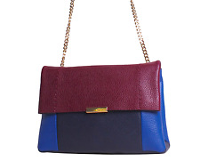 New Ted Baker Parson Leather Crossbody Bag, Colorblocked Oxblood Navy $195