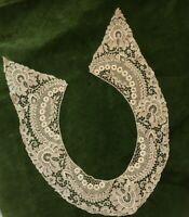 Antique Lace Collar Circa 1910 1920 Cream Silk Floral Design Edwardian Salvage