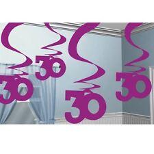 5pk Pink Party 30 Hanging Swirl Decoration Birthday
