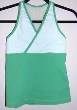 Womens Small Lululemon Deep V Green White Faux Wrap Mesh Back Yoga Sport Bra Top
