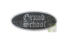 Patch, Aufnäher, Biker, Rocker, Kutte, HipHop - Grund School - Oval, 9x4cm stick