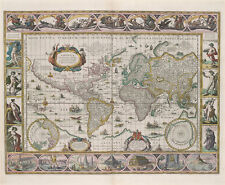 Antique World Map Reproduction US History Real Canvas Art Print