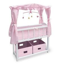 Canopy Doll Crib With Baskets  Bedding and Mobile-01723 NEW
