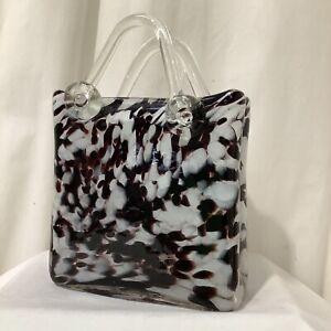 Italian Art Glass Murano Style Vincenza Style Brown White Glass Handbag VGC - 6