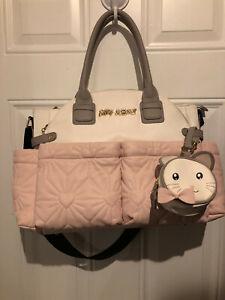 BETSEY JOHNSON Baby Girl Pink/White/Gray Diaper Bag
