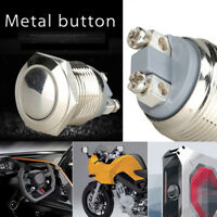 1PC Car Waterproof 19mm 12V Momentary On Off Metal Push Button Switch Silver New