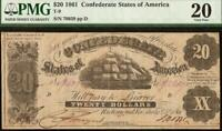 1861 $20 CONFEDERATE STATES OF AMERICA CURRENCY CIVIL WAR NOTE MONEY T-9 PMG VF