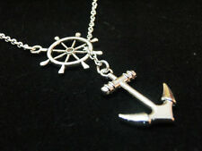 Vintage Anchor silver necklace pendant,antique rudder connector chain necklace.