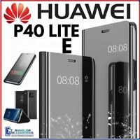 Coque Flip pour Huawei P40 Lite Et Étui Livre Transparent View 360° A Miroir
