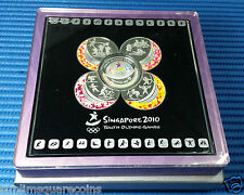 2010 Singapore Youth Olympic Games 4pcs Medallions & $5 Silver Proof Colour Coin
