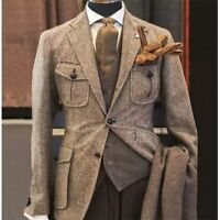 Suit 3 Piece Tweed Herringbone Business Men Jacket Prom Wedding Groom Suit Party