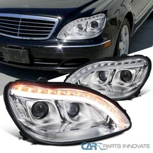 For 98-06 Benz W220 S320 Dual Projector Headlights w/LED Signal Strip Left+Right
