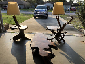 Red Cypress Redwood Driftwood Burl Furniture Coffee Table End Lamps