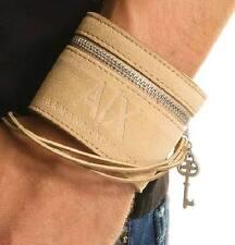 "NEW Men's Armani Exchange AX GENUINE Leather Key Cuff Tan Bracelet RARE BNWT 8"""