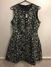 AX Paris Fitted A Line Black & White Leopard Print Dress Size 12