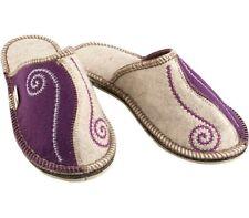 Purple Russian Felt Women's Slippers 100% Sheep Wool Warm Cozy, Not Slippery