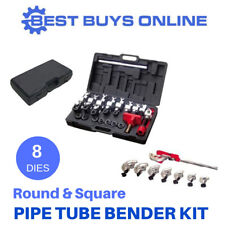 Manual PIPE BENDER Metal Round Square Tube 8 Dies Durable Bending Compact Kit