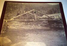 Antique American Outdoor Stream & Bridge! Men Medical Crutches! CO Cabinet Photo