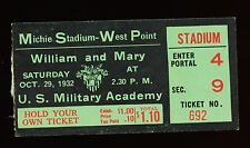 10/29/1932 William & Mary @ Army College Football Ticket