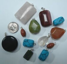 12 Mixed gemstone & block material pendant charms 13-40mm Plated eye bails cp001