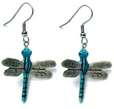 Northern Rose Porcelain Earrings Blue Stripe Dragonfly Figurine Figure Jewelry