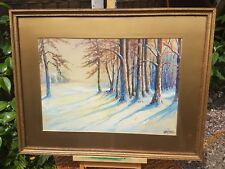 CHAS T. PAGE BWS WINTER SNOWY FOREST SCENE QUITE LARGE WATERCOLOUR