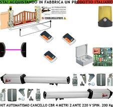 APRICANCELLO 4 MT 2 ANTE KIT AUTOMATISMO CBR 2 MOTORI 220 V. 3 RADIOC FOTOC FARO