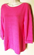 EUC Christopher & Banks 3/4 Cuffed Slv Pink Pull-Over 100% Cotton Sweater  Sz M