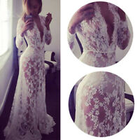 Women Summer V Neck Floral Lace Dress Lady Party Long Maxi Wedding Ball Gown Hot