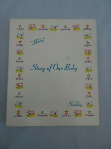 NOS Sanitoy Vintage 50s STORY OF OUR BABY Yellow Boy Girl Baby Book Original Box