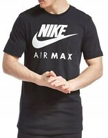 NIKE air max Mens  t shirt top tee S M L XL Crew neck short sleeve Cotton BLACK