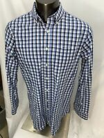 Johnnie-O Men's Blue Check Button Front long sleeve shirt XL