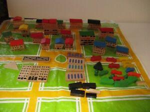Vintage Playskool Wooden Village Toy Lot