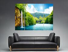 Rocher Nature Paysage Cascade Chute D'eau  Wall Art Poster A0 Large print