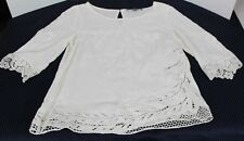Brixon Ivy Blouse White Embroided Lace Trim 3/4 Sleeve 100% Rayon Size XS (R)
