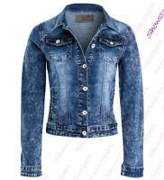 Womens Fitted Denim Jacket Stretch Mid Blue Jean Jackets Size 8 10 12 14 16