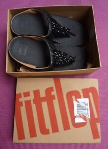 Fitflop Fit Flops Leather Black Jewelled Beaded Sandals Size UK 6 / EU 39 VGC