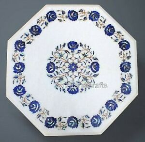 "Lapis Lazuli Stone Marquetry Art Sofa Table Top Marble Coffee Size 21"""