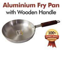 High Quality - 22cm Heavy Gauge Aluminium Frying Cooking Pan With Wooden Handle