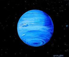 Planète Neptune-Original Oil Painting Artwork Par GM Jones Espace-Astronomie