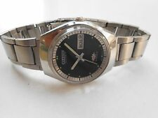 Vintage Stainless Steel Black Dial Citizen Mens Automatic WristWatch Rare