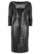 Alice & You Embellished Sequin Tall Sleeves Bodycon Party Evening Dress 8  Black