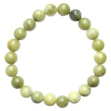 CHARGED Chinese Green Jade Crystal 8mm Stretchy Bracelet + Selenite Puffy Heart