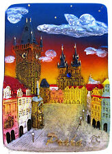 Fridge magnet Prague Old Town Hall,czech gift/ night souvenir 3D design