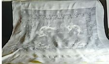 Vintage Hand Embroidered Linen Organza Tea Cloth Tablecloth with Dragons VV574